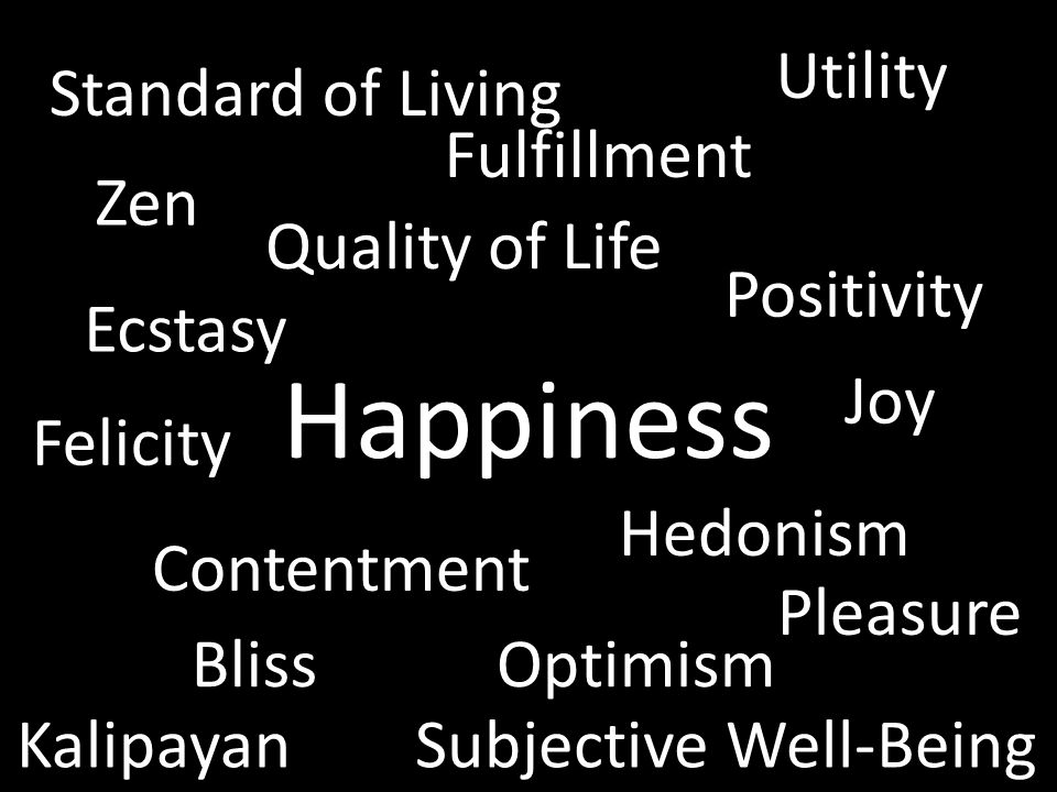 Happiness Joy Ecstasy Pleasure Contentment Fulfillment Zen Optimism Positivity Bliss Kalipayan Felicity Utility Subjective Well-Being Quality of Life Standard of Living Hedonism