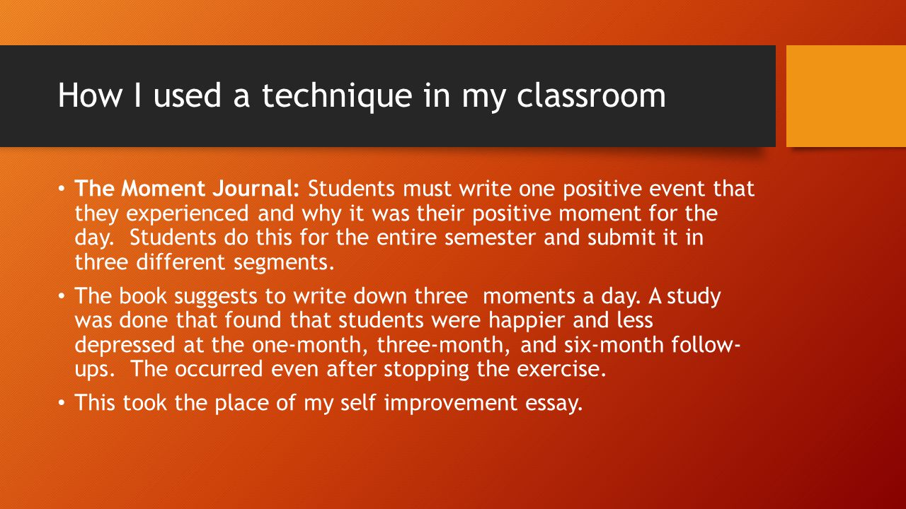 Pre/Post Survey Results I am still tabulating the data, but here are a few student quotes: Do you feel that this assignment increased your overall daily optimism level.