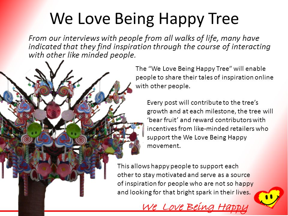 We Love Being Happy Tree From our interviews with people from all walks of life, many have indicated that they find inspiration through the course of interacting with other like minded people.