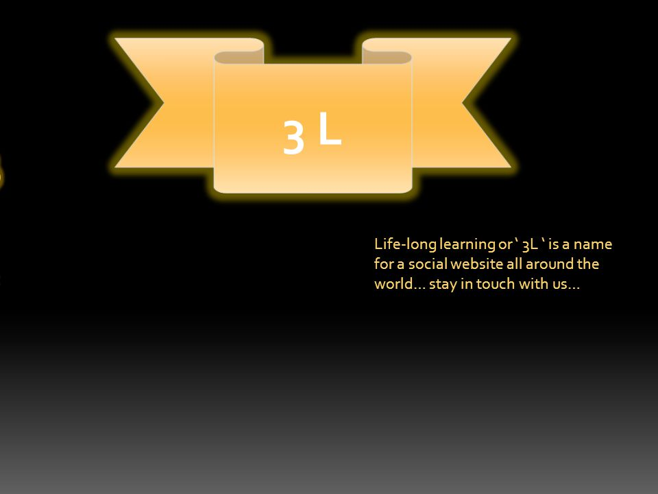 Life-Long Learning 3 L Life-long learning or ' 3L ' is a name for a social website all around the world… stay in touch with us…