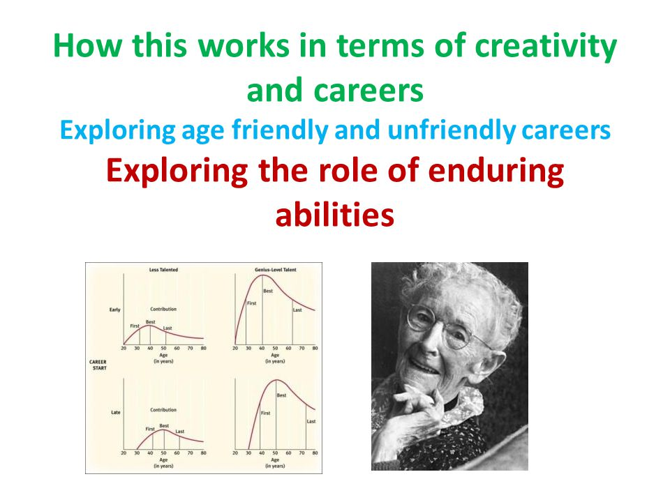 How this works in terms of creativity and careers Exploring age friendly and unfriendly careers Exploring the role of enduring abilities