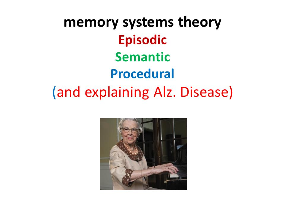 memory systems theory Episodic Semantic Procedural (and explaining Alz. Disease)