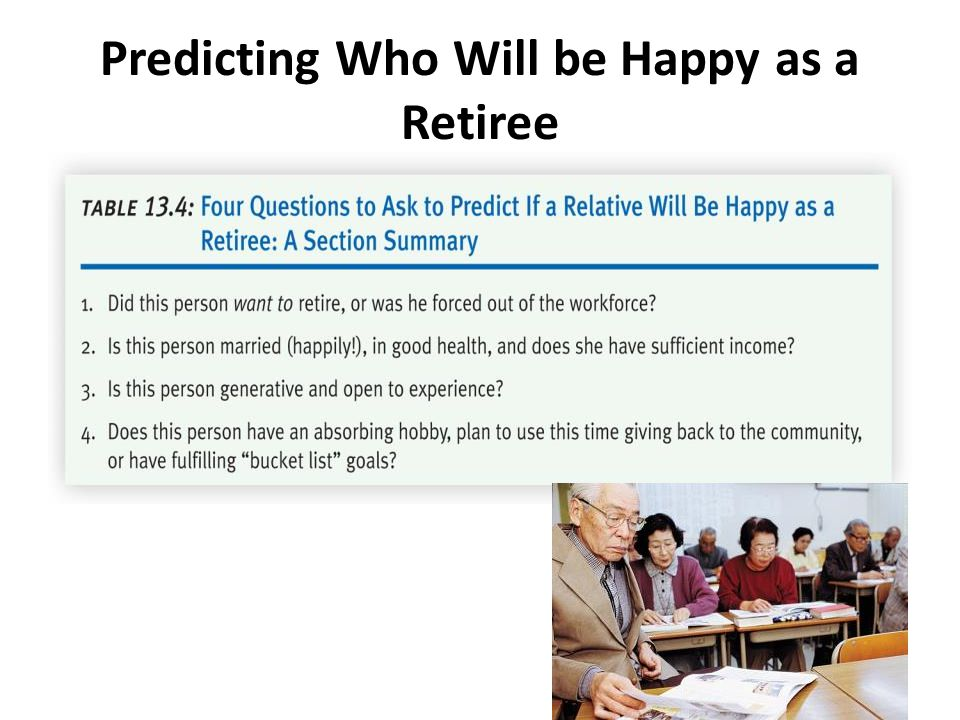 Predicting Who Will be Happy as a Retiree