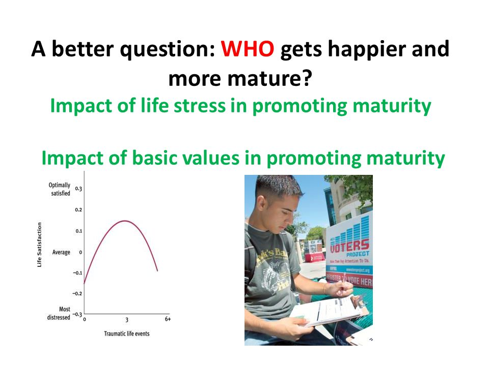 Why old age (can be) very happy and very sad Making the happiness case : Less life stress The late life positivity effect Making the sadness case: being poor and alone