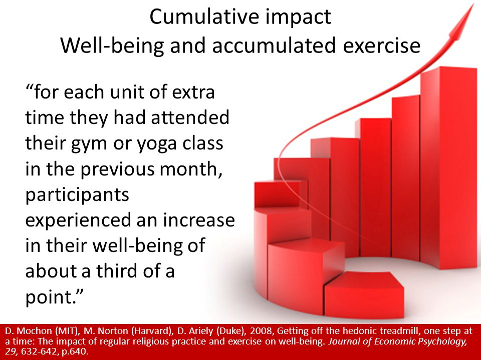 Cumulative impact Well-being and accumulated exercise for each unit of extra time they had attended their gym or yoga class in the previous month, participants experienced an increase in their well-being of about a third of a point. D.