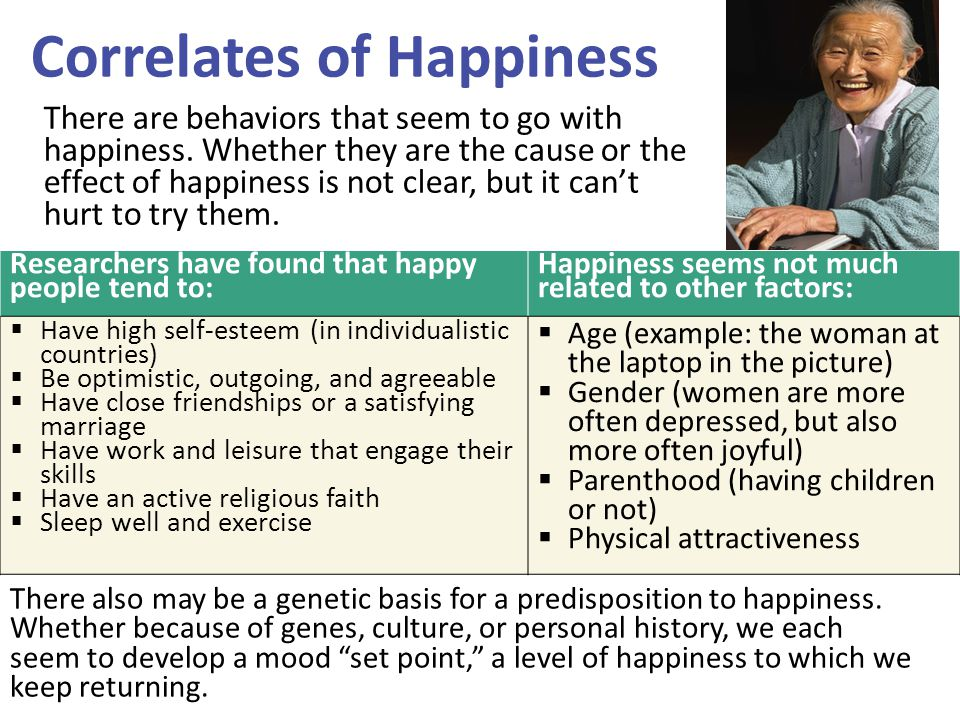 Correlates of Happiness There also may be a genetic basis for a predisposition to happiness. Whether because of genes, culture, or personal history, w