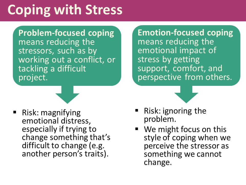 Coping with Stress  Risk: magnifying emotional distress, especially if trying to change something that's difficult to change (e.g.