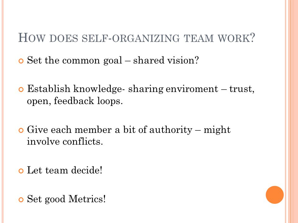 H OW DOES SELF - ORGANIZING TEAM WORK . Set the common goal – shared vision.