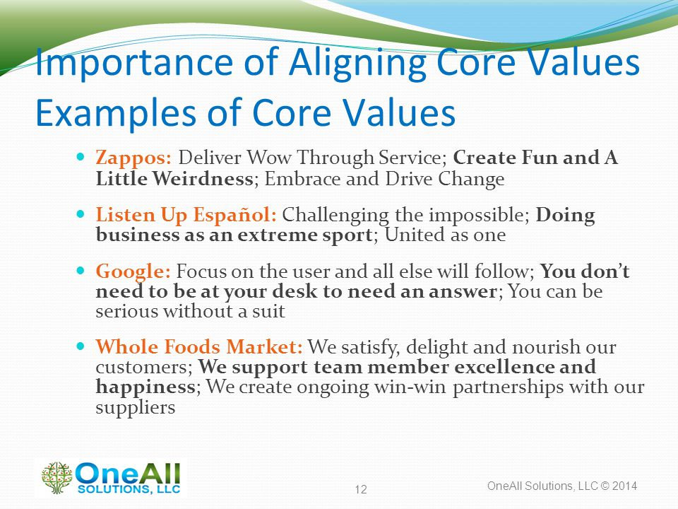 OneAll Solutions, LLC © 2014 Importance of Aligning Core Values Examples of Core Values Zappos: Deliver Wow Through Service; Create Fun and A Little Weirdness; Embrace and Drive Change Listen Up Español: Challenging the impossible; Doing business as an extreme sport; United as one Google: Focus on the user and all else will follow; You don't need to be at your desk to need an answer; You can be serious without a suit Whole Foods Market: We satisfy, delight and nourish our customers; We support team member excellence and happiness; We create ongoing win-win partnerships with our suppliers 12