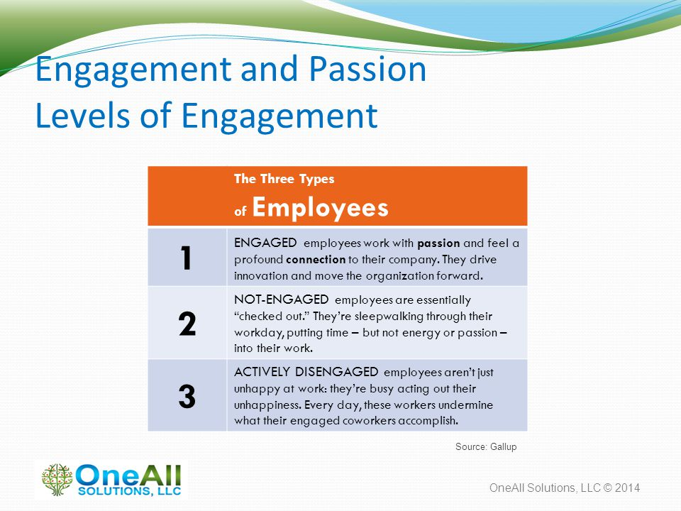 OneAll Solutions, LLC © 2014 Engagement and Passion Levels of Engagement The Three Types of Employees 1 ENGAGED employees work with passion and feel a profound connection to their company.