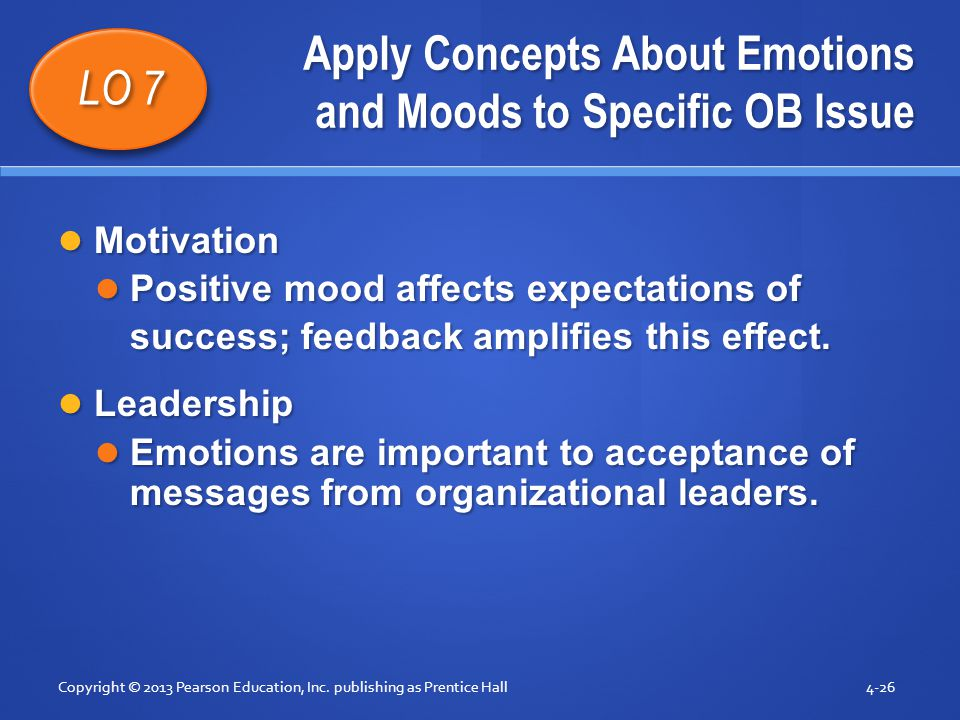 Apply Concepts About Emotions and Moods to Specific OB Issue Motivation Motivation Positive mood affects expectations of Positive mood affects expecta