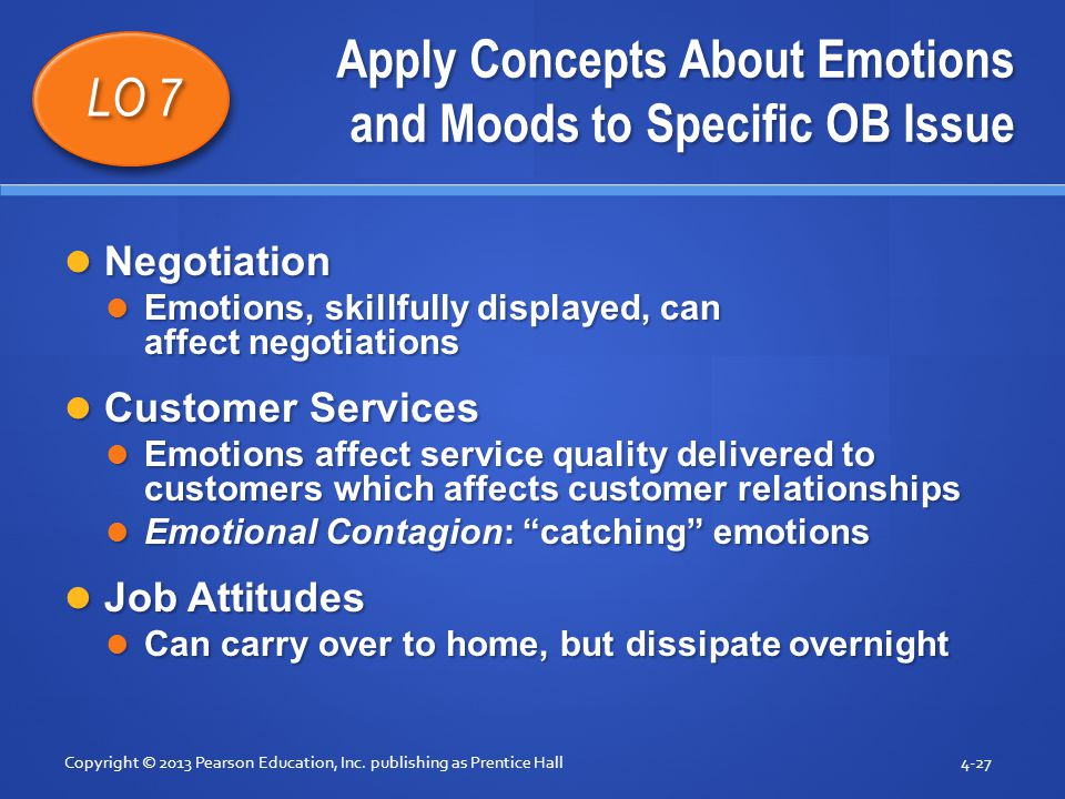 Apply Concepts About Emotions and Moods to Specific OB Issue Negotiation Negotiation Emotions, skillfully displayed, can affect negotiations Emotions,