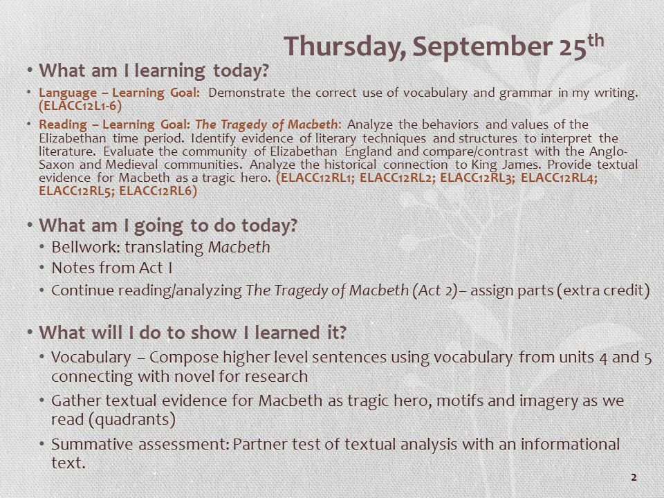 2 Thursday, September 25 th What am I learning today.