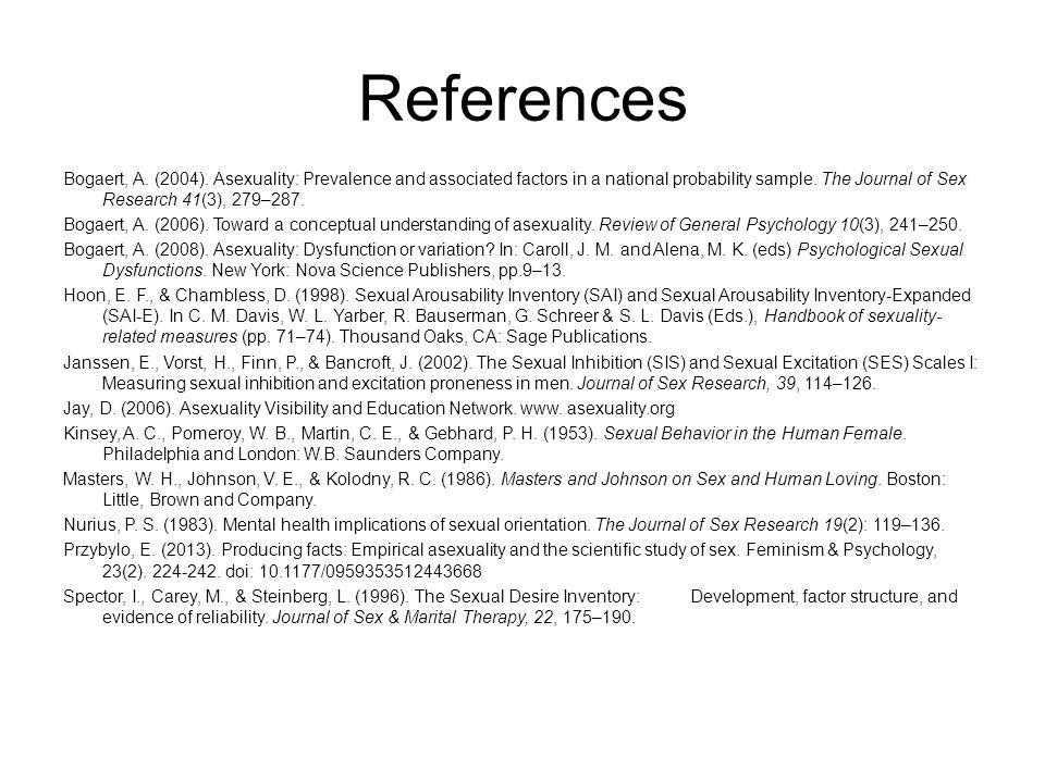 References Bogaert, A. (2004).