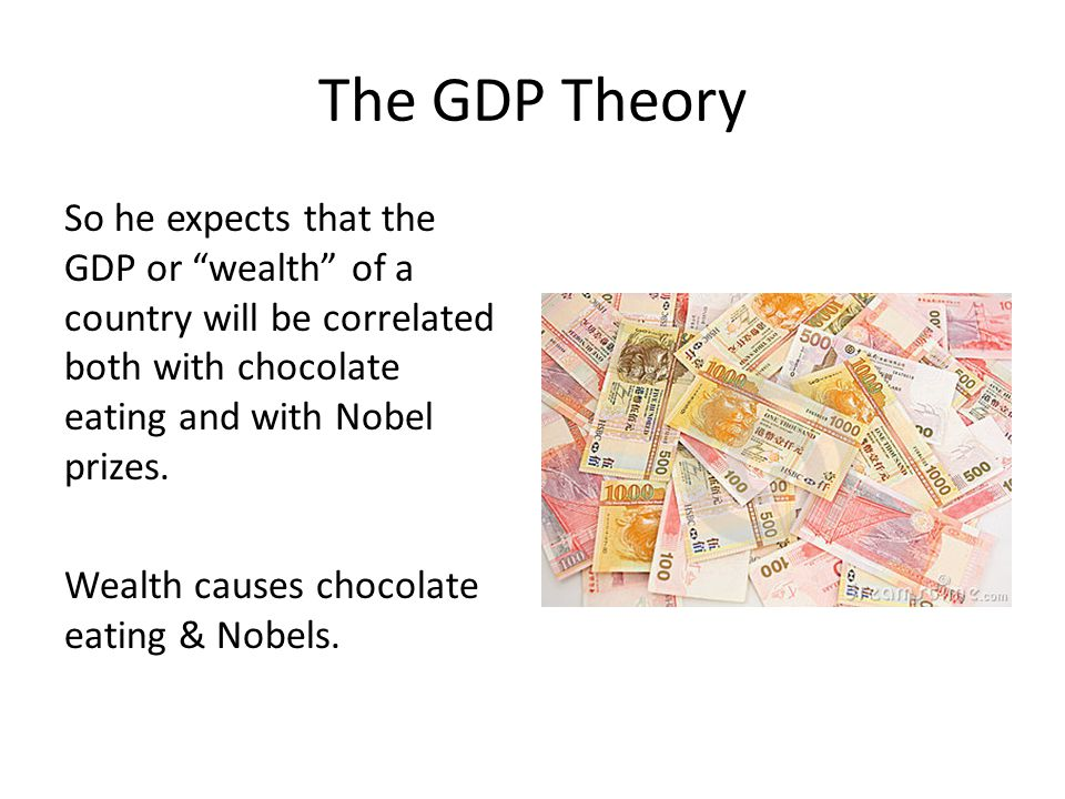 "The GDP Theory So he expects that the GDP or ""wealth"" of a country will be correlated both with chocolate eating and with Nobel prizes. Wealth causes"