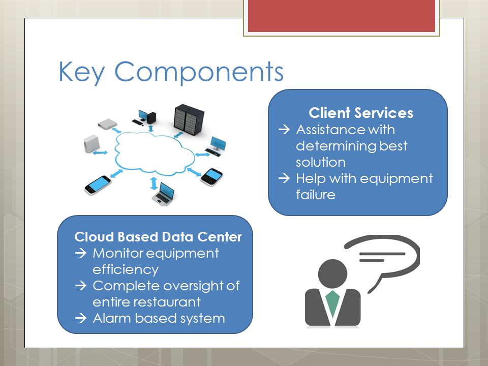 Key Components Client Services  Assistance with determining best solution  Help with equipment failure Cloud Based Data Center  Monitor equipment efficiency  Complete oversight of entire restaurant  Alarm based system