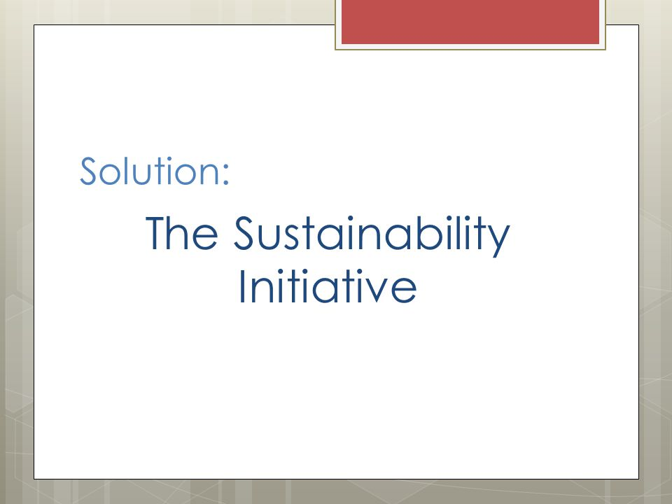 Solution: The Sustainability Initiative