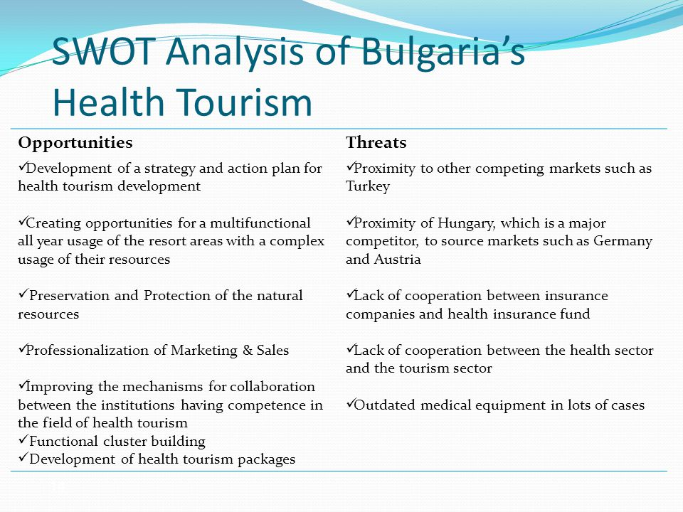 SWOT Analysis of Bulgaria's Health Tourism Opportunities Development of a strategy and action plan for health tourism development Creating opportunities for a multifunctional all year usage of the resort areas with a complex usage of their resources Preservation and Protection of the natural resources Professionalization of Marketing & Sales Improving the mechanisms for collaboration between the institutions having competence in the field of health tourism Functional cluster building Development of health tourism packages Threats Proximity to other competing markets such as Turkey Proximity of Hungary, which is a major competitor, to source markets such as Germany and Austria Lack of cooperation between insurance companies and health insurance fund Lack of cooperation between the health sector and the tourism sector Outdated medical equipment in lots of cases 14
