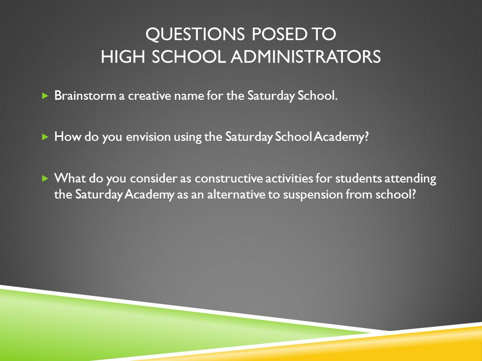 QUESTIONS POSED TO HIGH SCHOOL ADMINISTRATORS  Brainstorm a creative name for the Saturday School.  How do you envision using the Saturday School Ac