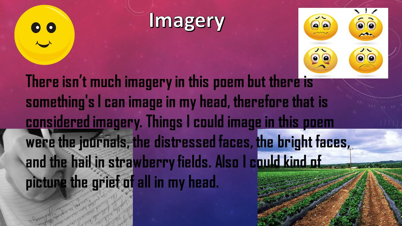 Some literary terms used in this poem include: Repetition Metaphor Imagery Figurative Language