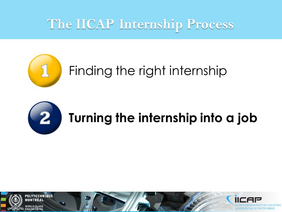 The IICAP Internship Process Finding the right internship Turning the internship into a job