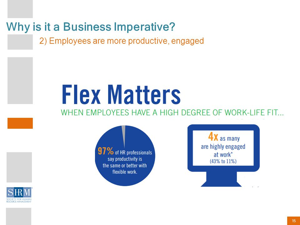 15 Why is it a Business Imperative 2) Employees are more productive, engaged