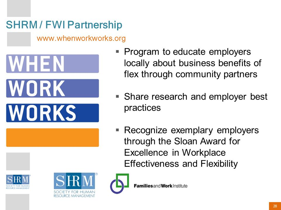 28 SHRM / FWI Partnership www.whenworkworks.org  Program to educate employers locally about business benefits of flex through community partners  Share research and employer best practices  Recognize exemplary employers through the Sloan Award for Excellence in Workplace Effectiveness and Flexibility