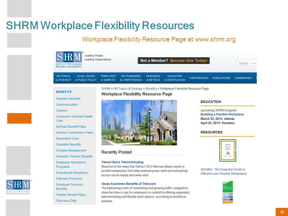 30 SHRM Workplace Flexibility Resources Workplace Flexibility Resource Page at www.shrm.org
