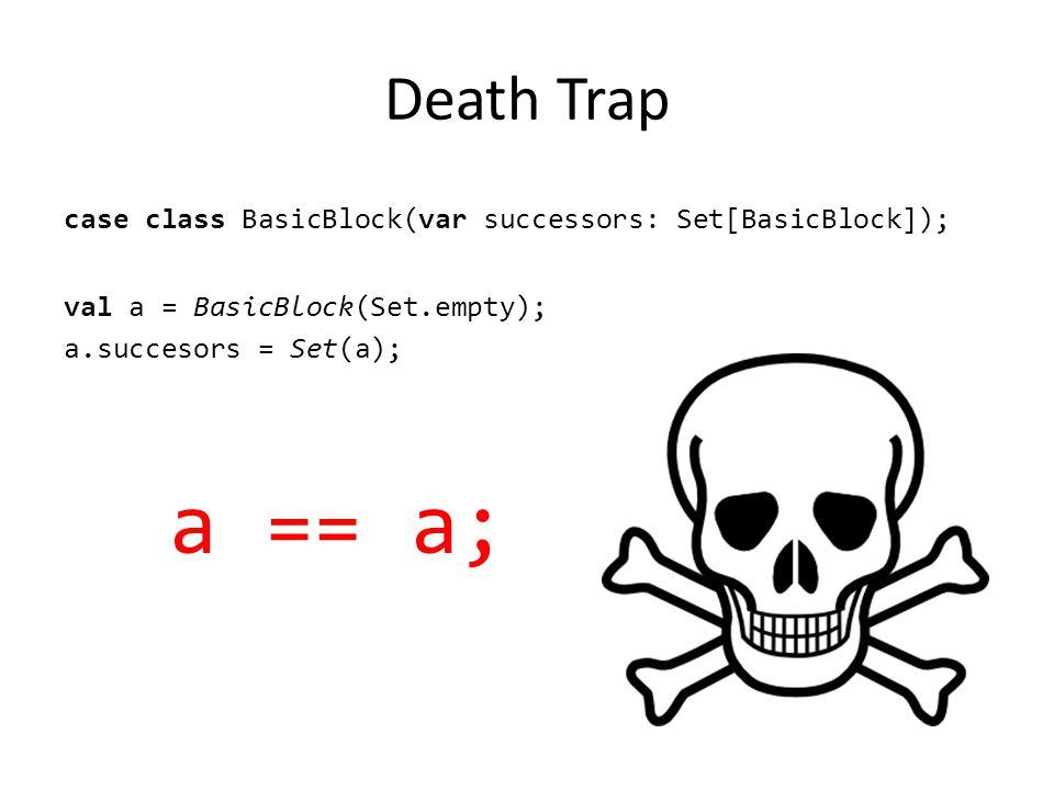 Death Trap case class BasicBlock(var successors: Set[BasicBlock]); val a = BasicBlock(Set.empty); a.succesors = Set(a); a == a;