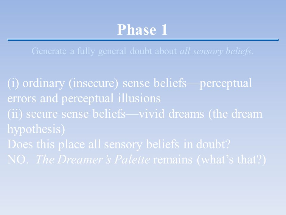 Phase 1 Generate a fully general doubt about all sensory beliefs.