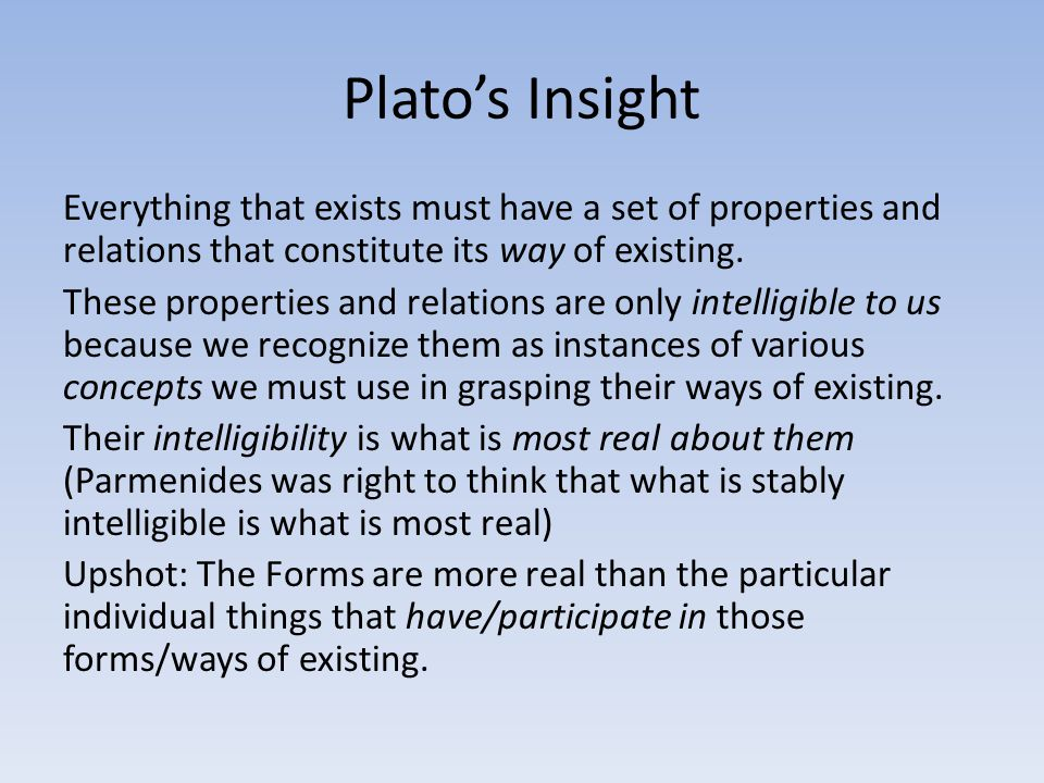 Plato's Insight Everything that exists must have a set of properties and relations that constitute its way of existing. These properties and relations