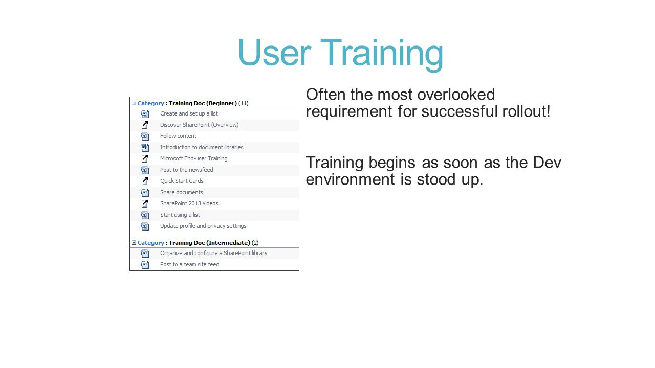 User Training Often the most overlooked requirement for successful rollout.