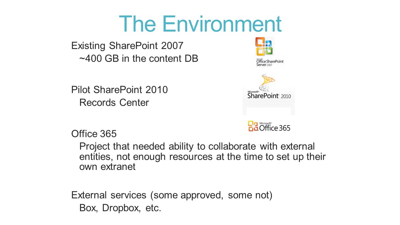 The Goal SharePoint 2013 On-premises Unified environment