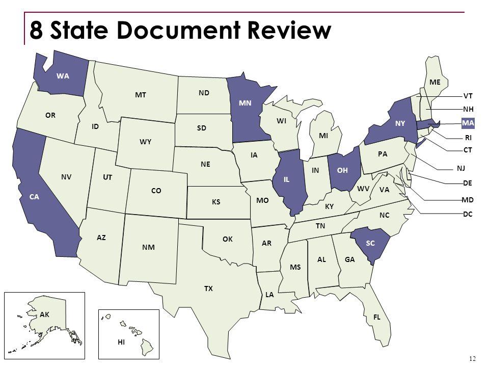 8 State Document Review AK NY 12 LA