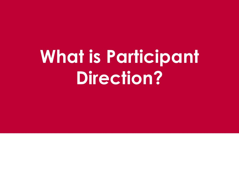 What is Participant Direction?