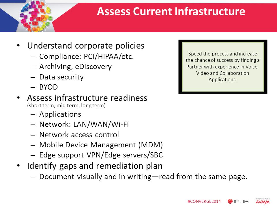 #CONVERGE2014 Assess Current Infrastructure Understand corporate policies – Compliance: PCI/HIPAA/etc. – Archiving, eDiscovery – Data security – BYOD