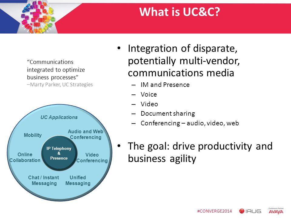 #CONVERGE2014 What is UC&C? Integration of disparate, potentially multi-vendor, communications media – IM and Presence – Voice – Video – Document shar