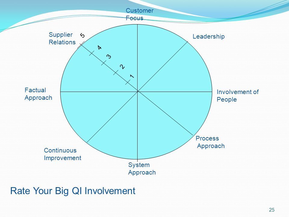 Rate Your Big QI Involvement 4 3 2 1 Customer Focus Leadership Involvement of People Process Approach System Approach Continuous Improvement Factual A