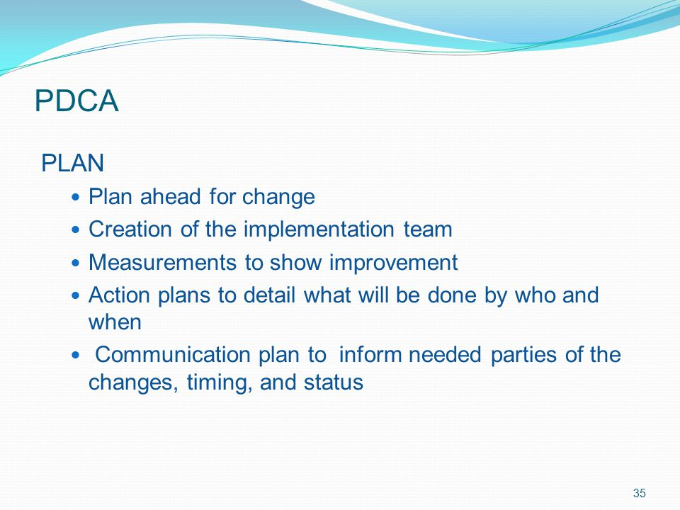 PDCA PLAN Plan ahead for change Creation of the implementation team Measurements to show improvement Action plans to detail what will be done by who a