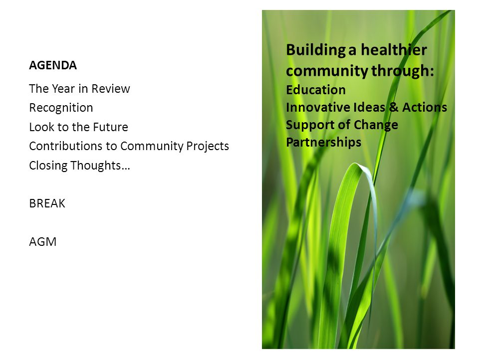AGENDA The Year in Review Recognition Look to the Future Contributions to Community Projects Closing Thoughts… BREAK AGM Building a healthier community through: Education Innovative Ideas & Actions Support of Change Partnerships