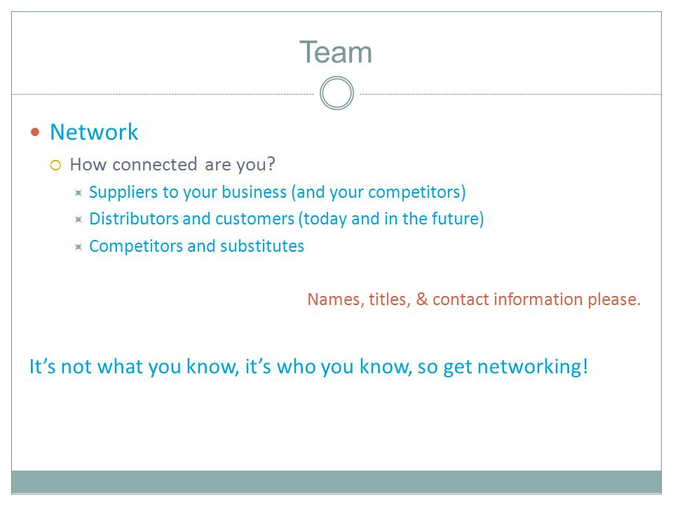 Team Network  How connected are you.