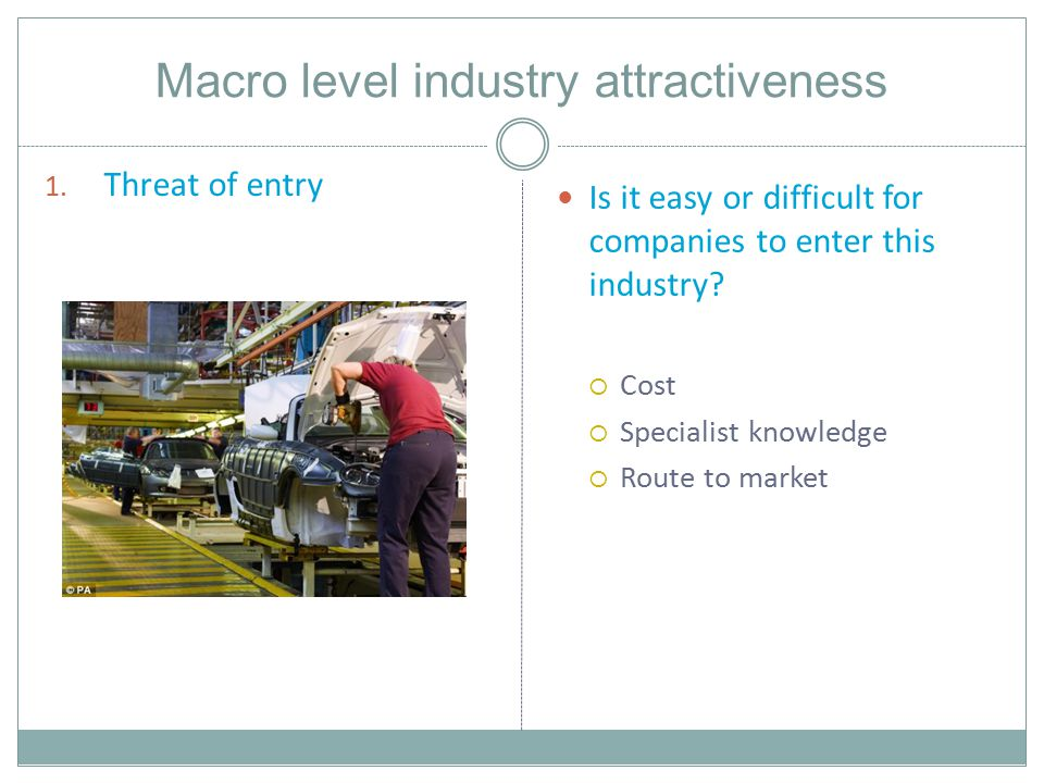 Macro level industry attractiveness 1.
