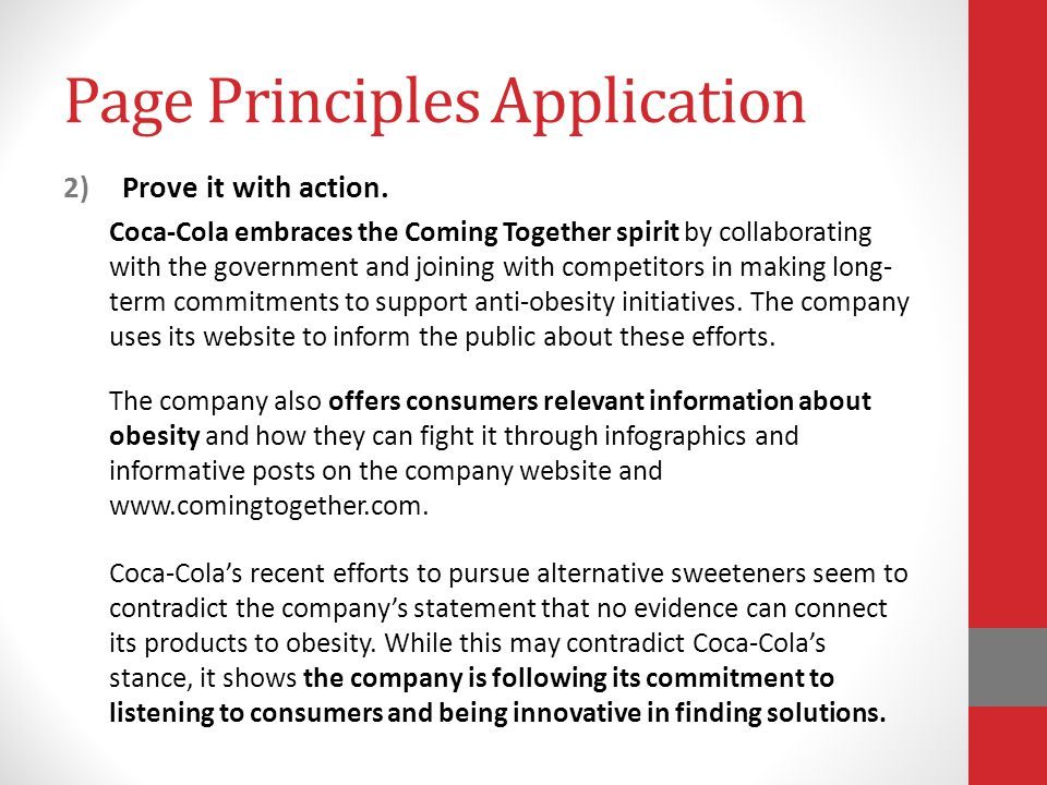Page Principles Application 2)Prove it with action.