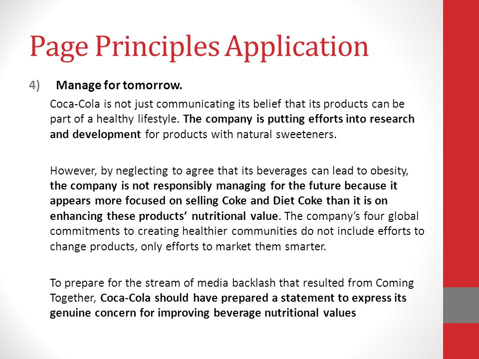 Page Principles Application 4)Manage for tomorrow.