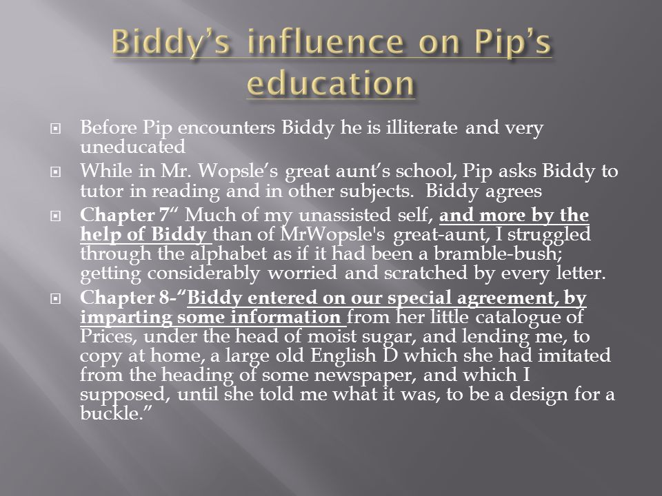  Before Pip encounters Biddy he is illiterate and very uneducated  While in Mr.