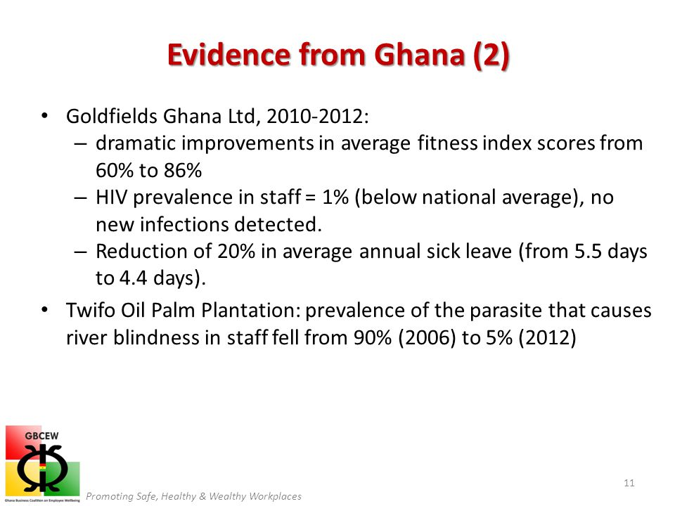 Promoting Safe, Healthy & Wealthy Workplaces Goldfields Ghana Ltd, 2010-2012: – dramatic improvements in average fitness index scores from 60% to 86% – HIV prevalence in staff = 1% (below national average), no new infections detected.