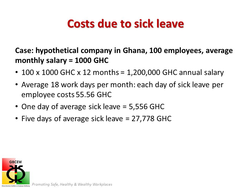 Promoting Safe, Healthy & Wealthy Workplaces Costs due to sick leave Case: hypothetical company in Ghana, 100 employees, average monthly salary = 1000 GHC 100 x 1000 GHC x 12 months = 1,200,000 GHC annual salary Average 18 work days per month: each day of sick leave per employee costs 55.56 GHC One day of average sick leave = 5,556 GHC Five days of average sick leave = 27,778 GHC