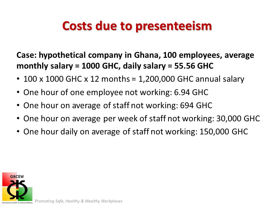 Promoting Safe, Healthy & Wealthy Workplaces Costs due to presenteeism Case: hypothetical company in Ghana, 100 employees, average monthly salary = 1000 GHC, daily salary = 55.56 GHC 100 x 1000 GHC x 12 months = 1,200,000 GHC annual salary One hour of one employee not working: 6.94 GHC One hour on average of staff not working: 694 GHC One hour on average per week of staff not working: 30,000 GHC One hour daily on average of staff not working: 150,000 GHC