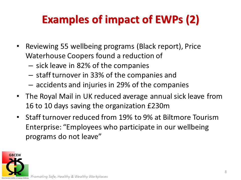 Promoting Safe, Healthy & Wealthy Workplaces Reviewing 55 wellbeing programs (Black report), Price Waterhouse Coopers found a reduction of – sick leav