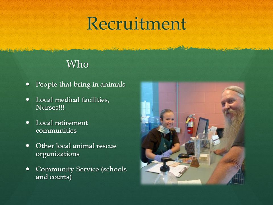 Recruitment Who People that bring in animals Local medical facilities, Nurses!!.
